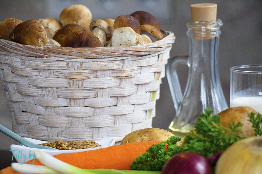 Ингредиенты для супа из белых грибов