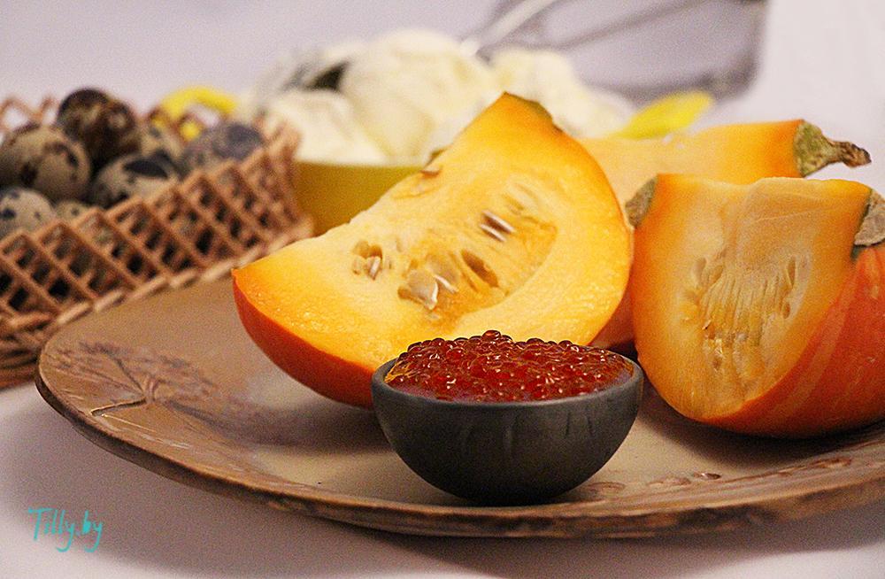 Ингредиенты для запеченной тыквы с красной икрой