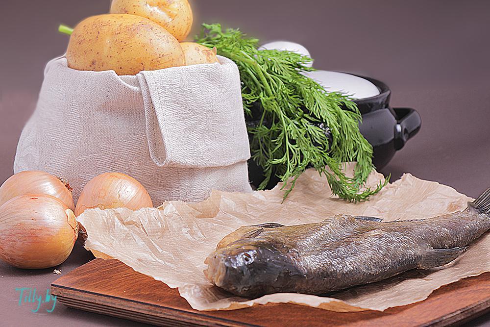 Ингредиенты для вяленой рыбы с картошкой