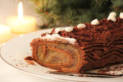 Десерт с каштановым кремом