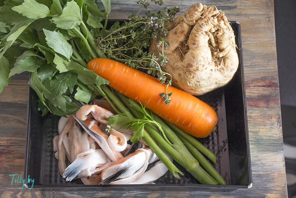 Ингредиенты для супа из семги