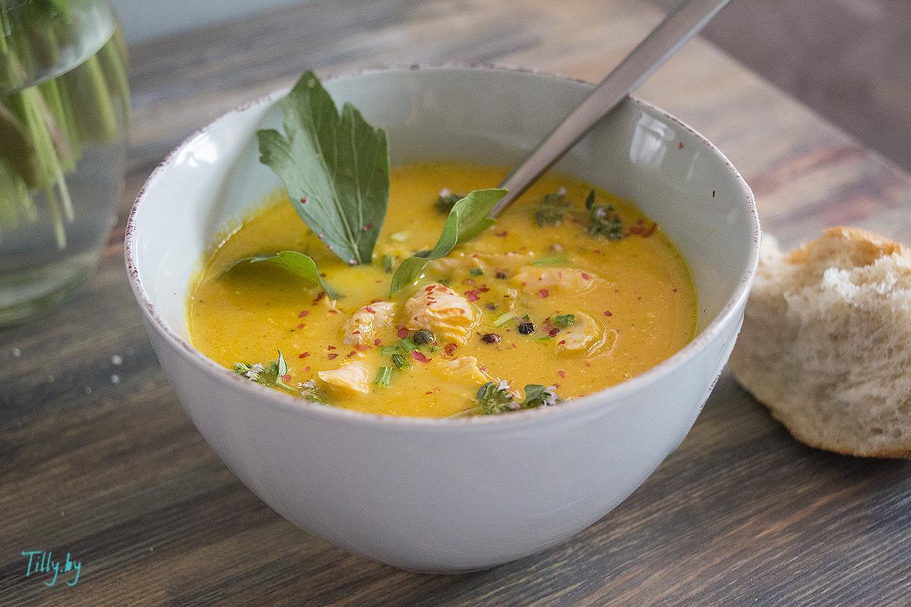 Рыбный суп из семги со сливками