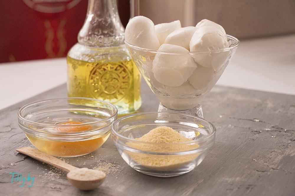Ингредиенты для закуски из моцареллы