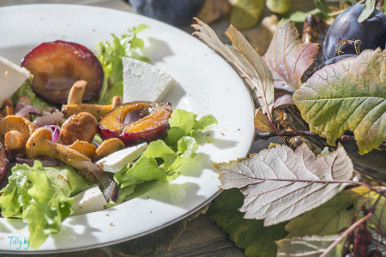 рецепт салата с лисичками и сливой